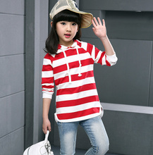 Girl Striped Cotton Blouse Kids Girls Baby Striped T-Shirt Long Sleeve Kids Tops 100%Cotton Children'S Clothes