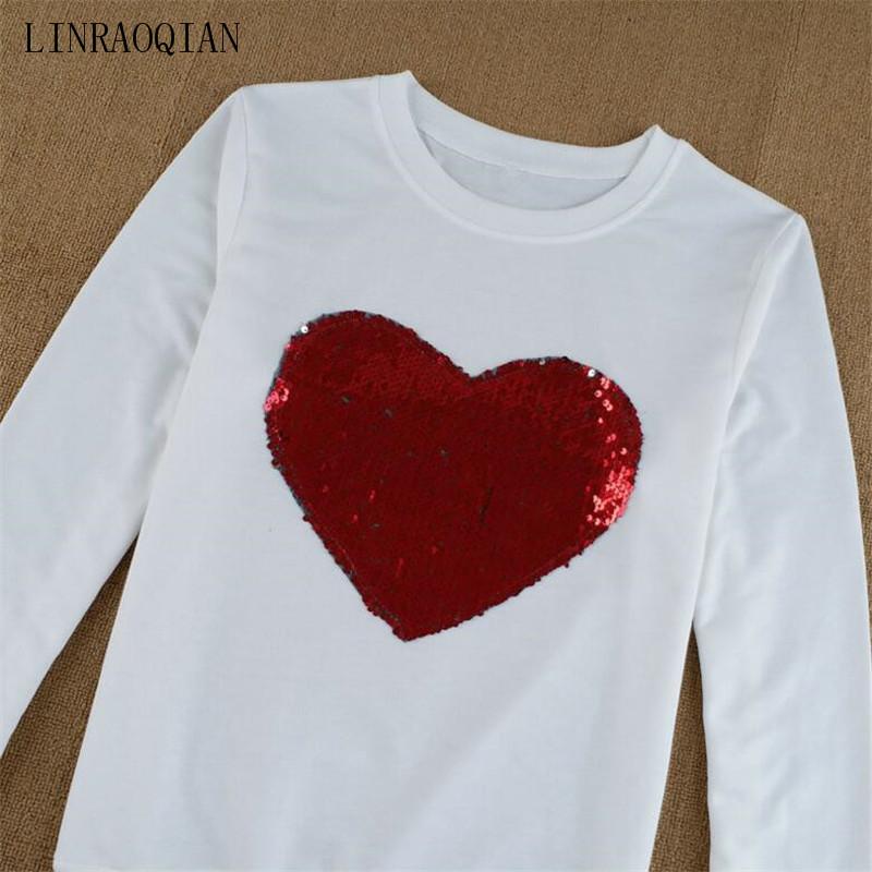 LINRAOQIAN Harajuku Shirt Women Tops Red Heart Sequin Top Tshirt ... 920254078bd5