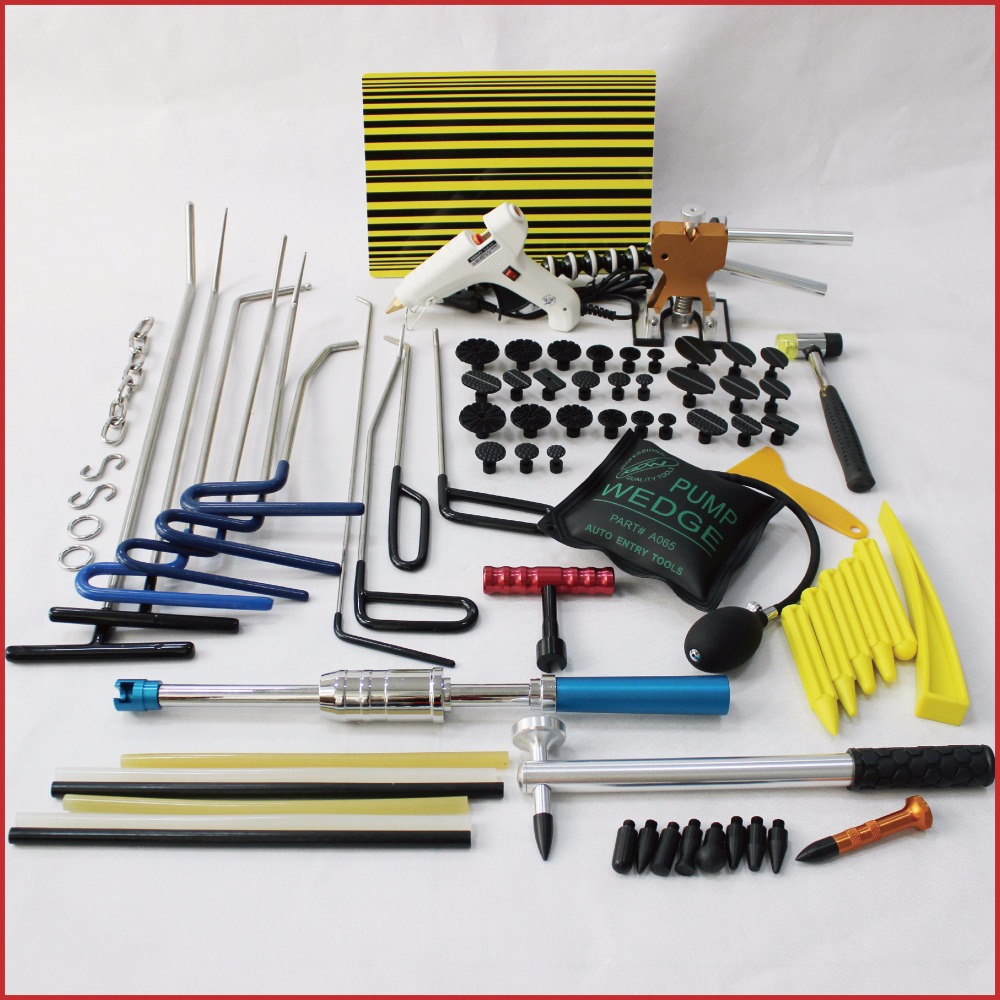 pdr tools paintless dent repair puller kit auto car body dent removal set rods hammer mini lifter glue pulling tabs fix remover pdr rods kit with slider hammer dent lifter bridge puller set led line board glue stricks pro pulling tabs kit for pop a dent