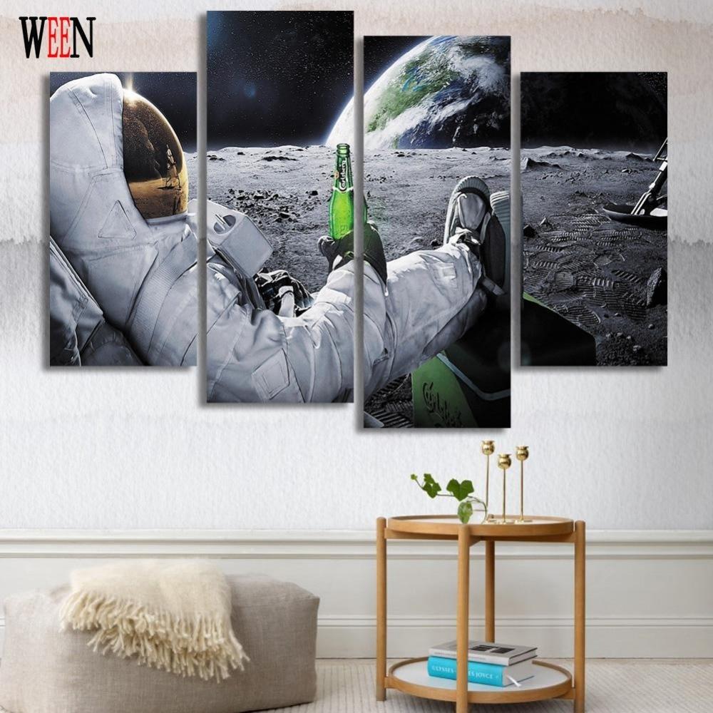 Astronauta nello Spazio Stampe Su Tela Per Soggiorno 4 Pz Pittura ...
