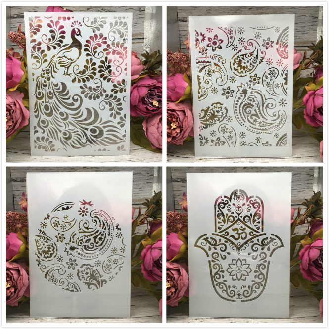 4Pcs/Lot A4 Peacock Leaves Texture DIY Layering Stencils Painting Scrapbook Coloring Embossing Album Decorative Card Template
