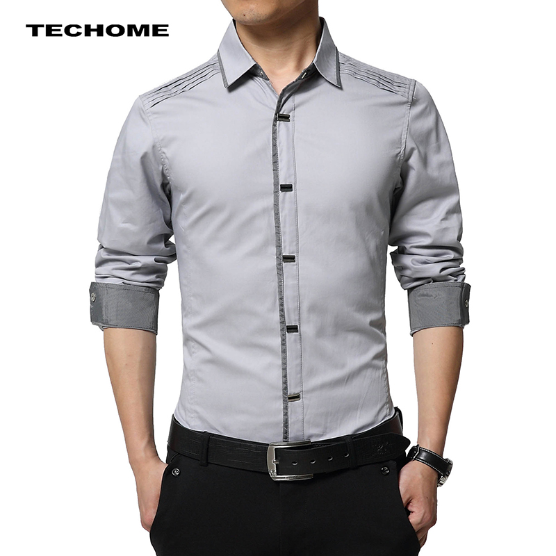 Hot Sale Men Long Sleeved Shirt 2018 New Design Fashion British Style Gentlemen Shirt Pure Cotton Tight Professional Shirt