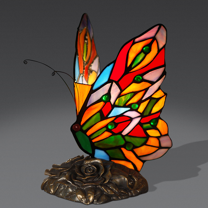 LFH Modern Christmas Glass Table Lamps Tiffany Small Animal Butterfly Desk Lamp For Living Room