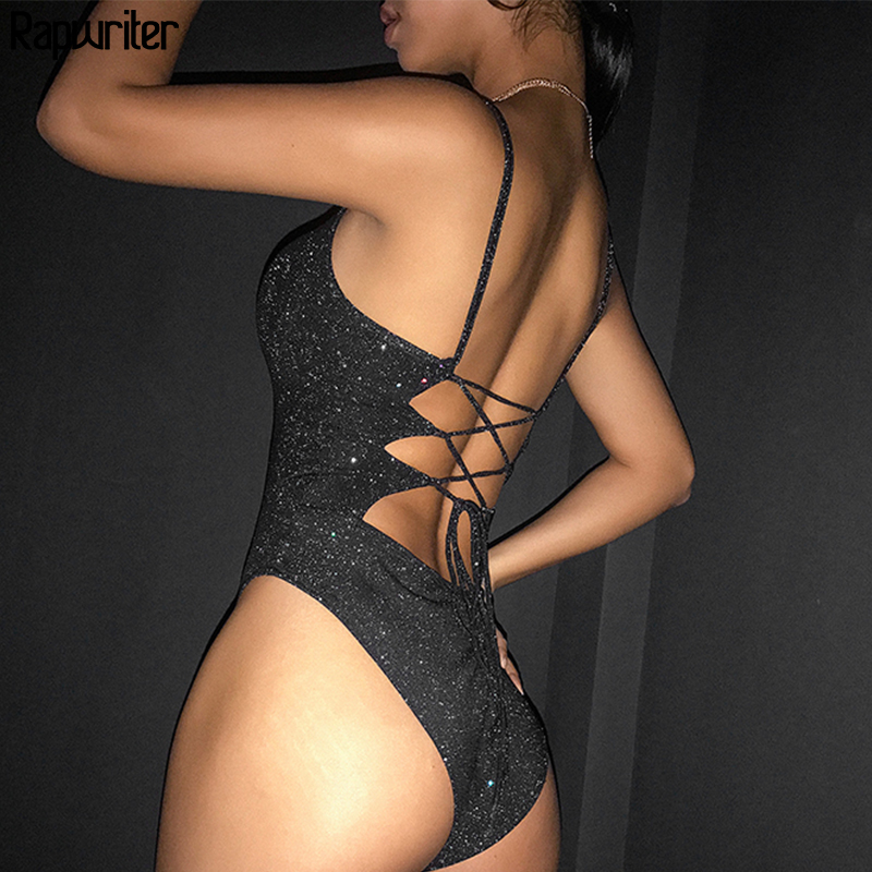 Rapwriter Backless Cross Lace-up Glitter Sexy Bodysuit Women 2019 Summer Stretch Straps Sleeveless Slim Open Crotch Bodysuit
