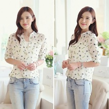 Fashion Women Casual Long Sleeve Shirt Birds/Dot/Floral Print Chiffon Blouse