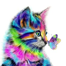 5D DIY Full Drill Round Diamond Painting Colorful Cat and Butterfly Pattern Diamond Embroidery Mosaic Stickers Cross Stitch цена