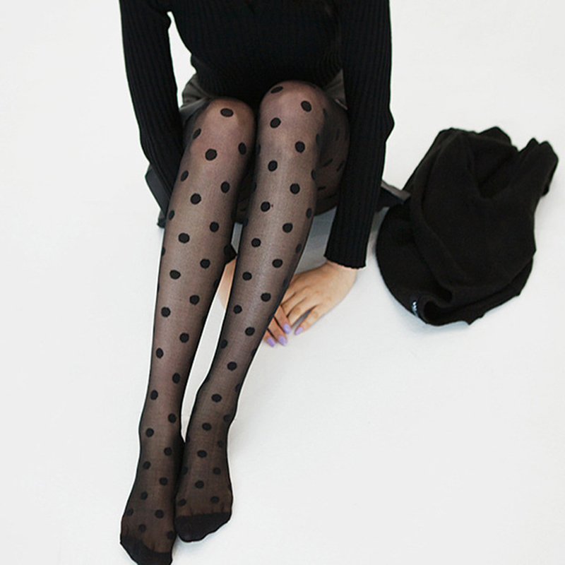 New Women Tights Pantyhose Black And White Big Dots Entirely Seamless Sexy Sheer Stockings Tight Female collant Pantyhose