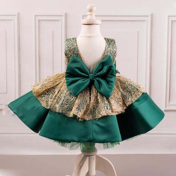 Beautiful emerald green and gold lace ball gown toddler celebration pageant flower girl dress with bow baby birthday party gown недорого