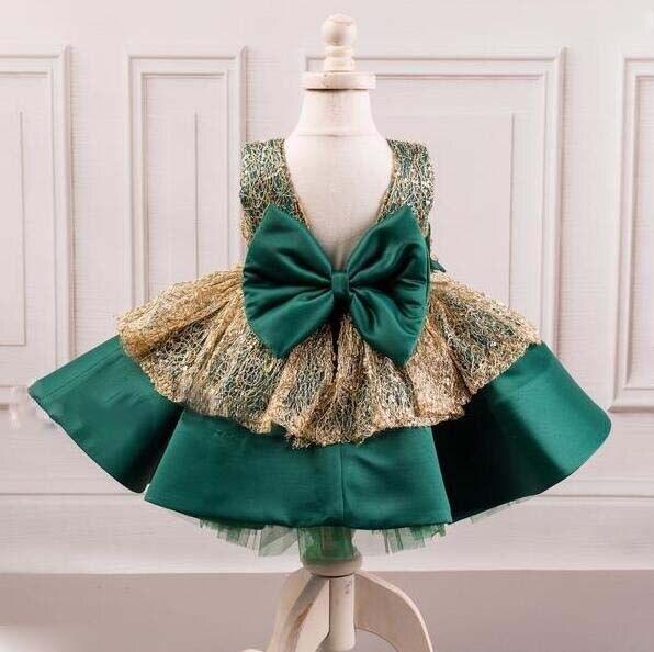 878f14761 € 63.62 5% de DESCUENTO Hermoso vestido de fiesta de cumpleaños de color  verde esmeralda y dorado con lazo para niña en Vestidos de Madre y niños ...