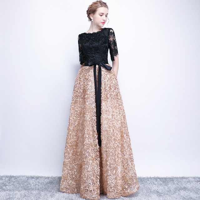Evening Dresses 2018 New Elegant O-neck Lace Cut-out Half Sleeve Luxury Applique Long Noble Banquet Party Prom Robe De Soiree X 3