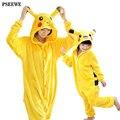 Flanela Quente conjuntos de roupas pijamas Pikachu onesies para adultos onesie casa mulher mulheres pijama da Criança dos desenhos animados cosplay natal