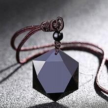 Collares de piedra de energía Natural para mujer, colgantes de obsidiana negra, amuleto de la suerte de seis estrellas, joyería de amor, regalos