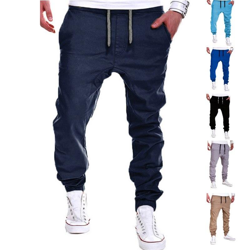 New Hot Men's Pants Solid Color Elastic Cross Sweatpants Breathable Casual Thin Boy Trousers Long Pants  YAA99
