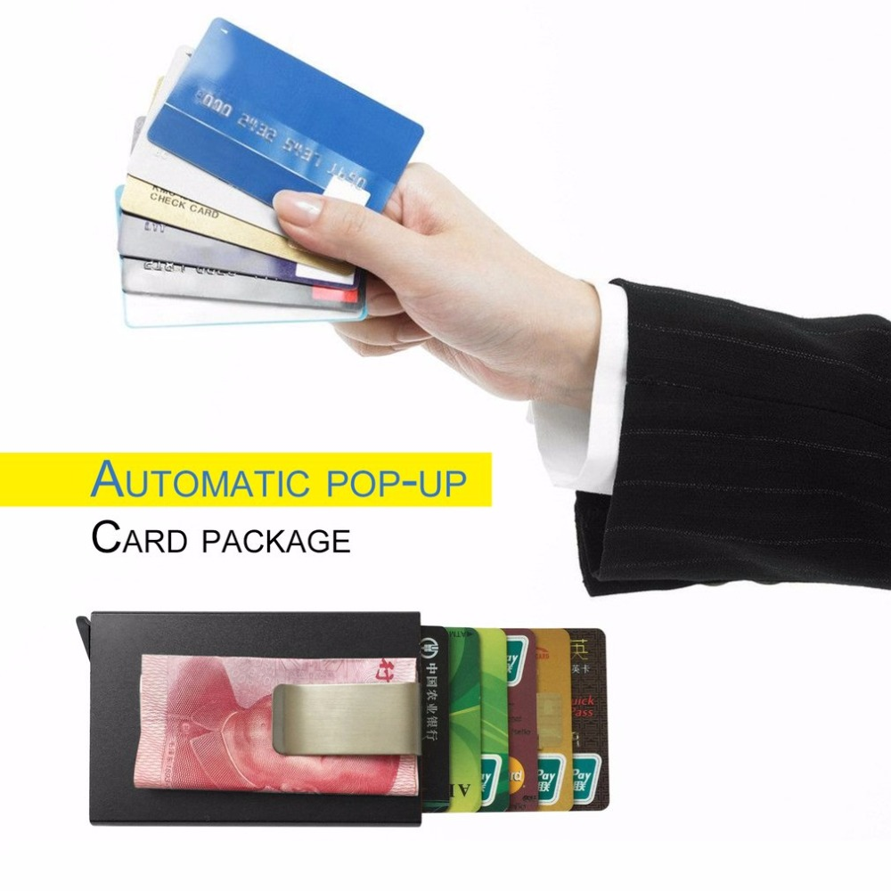 Automatic Pop-up Card Holder ID Credit Bank Business Card Package Case With Clip Aluminum Alloy Card Box Travel Card Wallet