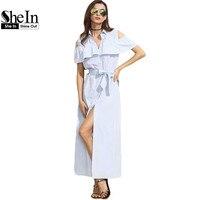 SheIn New Women Long Dresses Summer Ladies Blue Striped Lapel Short Sleeve Cold Shoulder Ruffle Tie