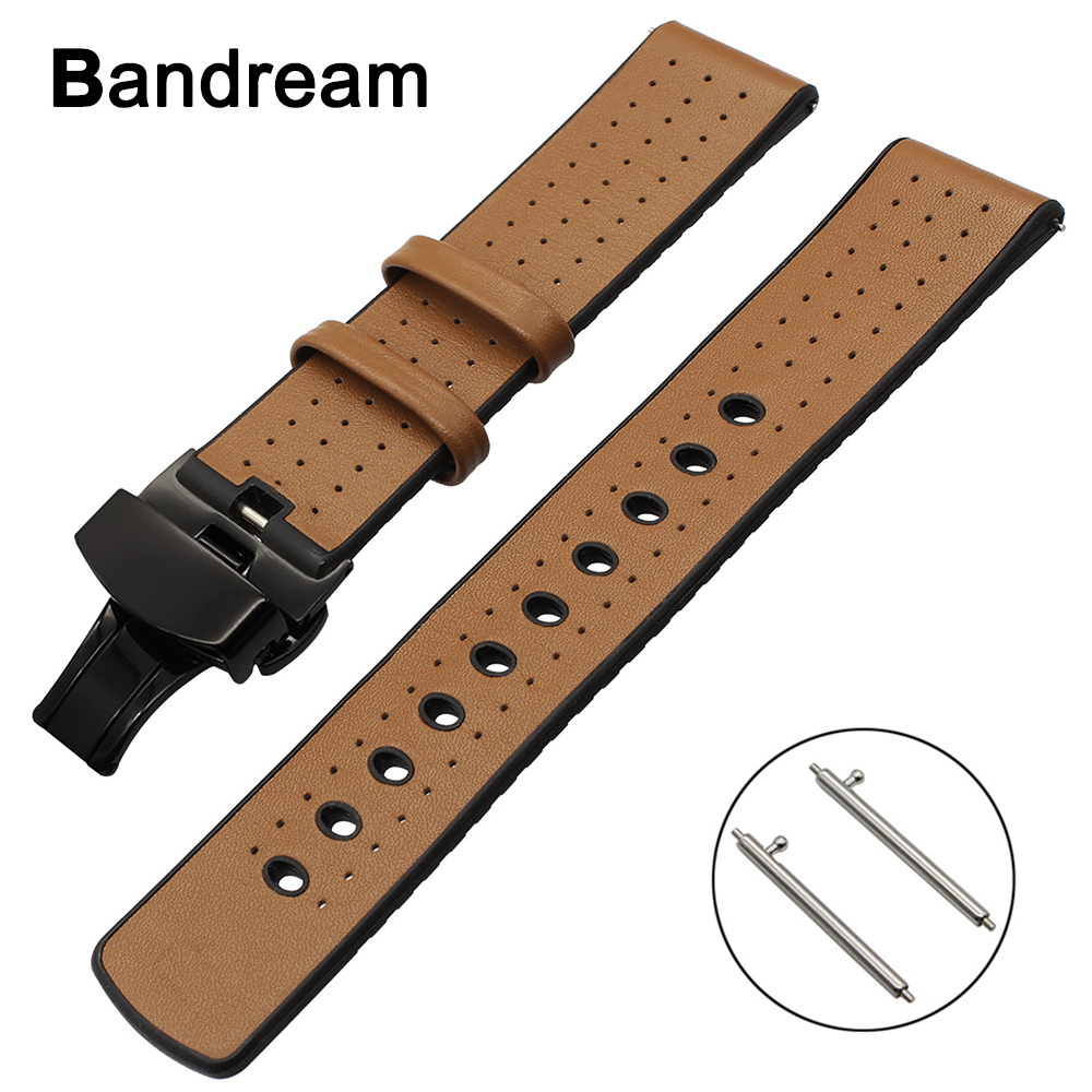 купить 22mm Genuine Leather + Silicone Rubber Watchband for Amazfit Samsung Gear 2 R380 Neo R381 Live R382 Strap Butterfly Buckle Band по цене 1291.27 рублей