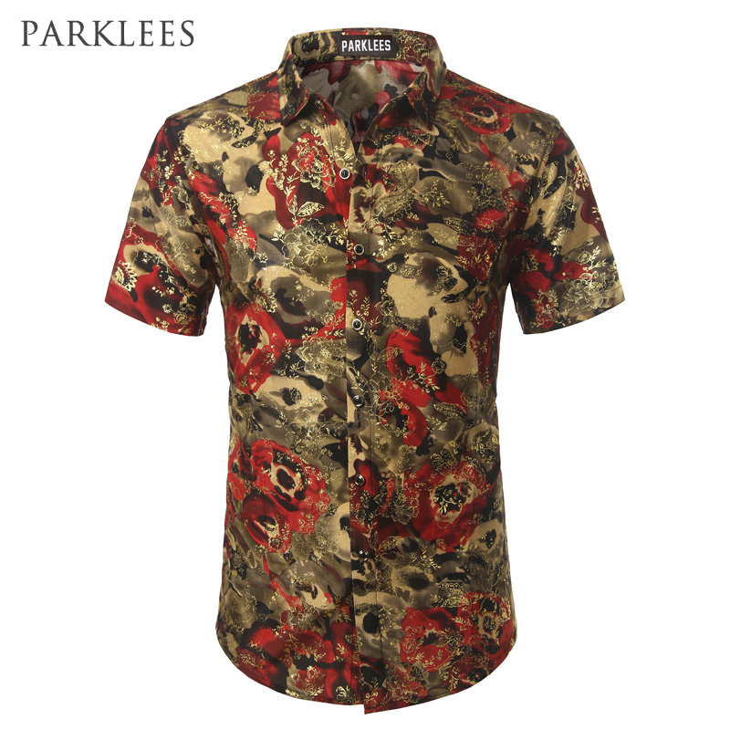 Gold velvet floral printed men shirts 2017 brand new silk for Printed short sleeve shirts