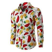 2019 New Fruits Prints Shirts Mens Clothes Long Sleeve Dress Casual Regular fit Camisa Social Masculina 021204