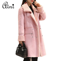 Women Suede Coats 2018 Winter Lambswool Suede Jacket Thicken Coat Warm Long Sleeve Jacket Female Long Overcoat Plus Size S 2XL
