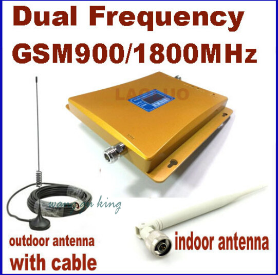 Direct Marketing Dual Frequency 900MHZ & 1800mhz Signal Booster GSM Repeater DCS Amplifier +indoor Outdoor Antenna 1 Sets