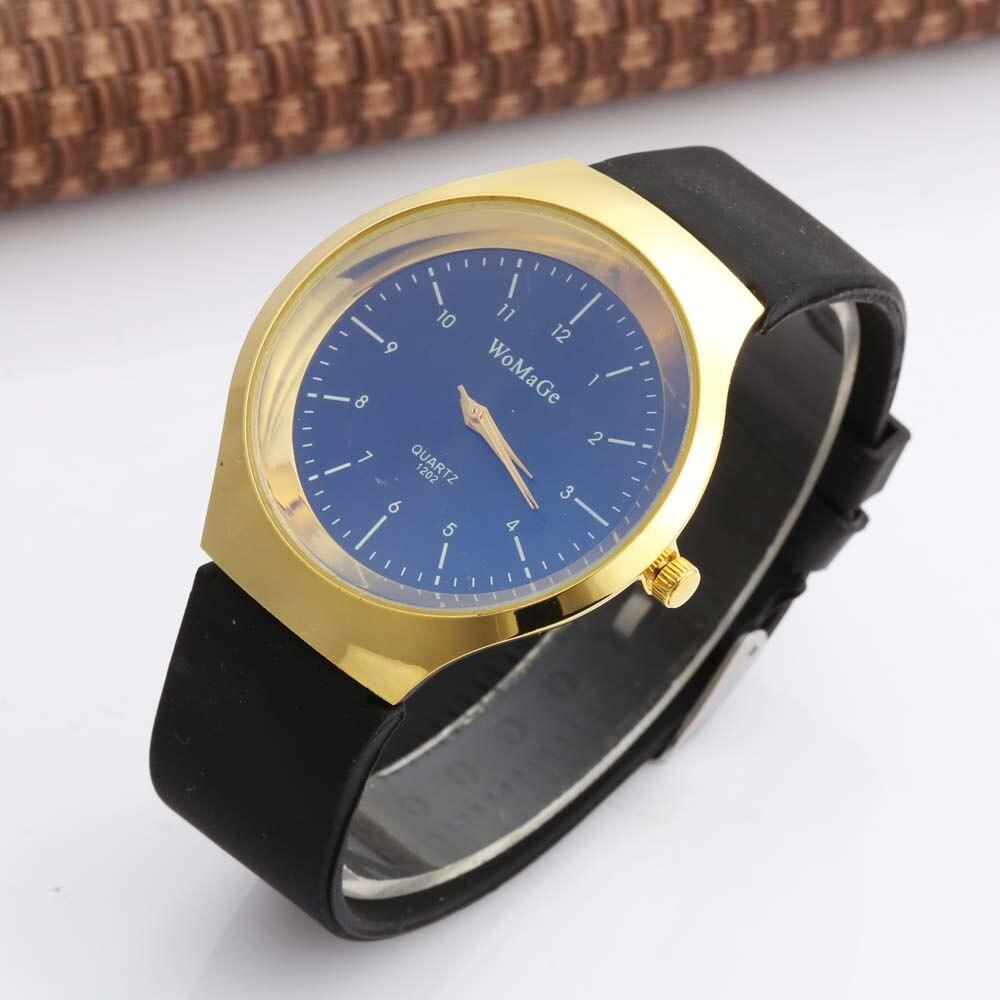 Womage luxo ouro analógico quartzo relógios de pulso masculino esportes silicone relógios dos homens relógio de ouro presente definido para namorado barato falso