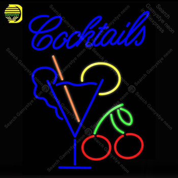 NEON SIGN For Cocktails with Cup NEON Bulbs Sign Lamp Decor Home Wall Room Handcraft Beer Bar light up signs lights for sale