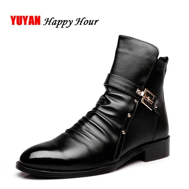 2019 Genuine Leather Autumn Winter Shoes Men Ankle Boots High Quality Non-slip Warm Men's Boots ZHK195