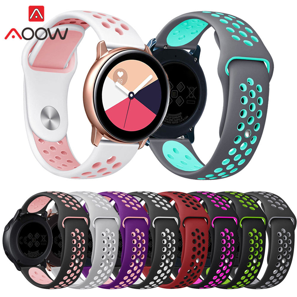 20mm Silicone Watchband For Samsung Galaxy Watch Active 42mm Gear S2 Amazfit Bip Breathable Holes Rubber Bracelet Band Strap