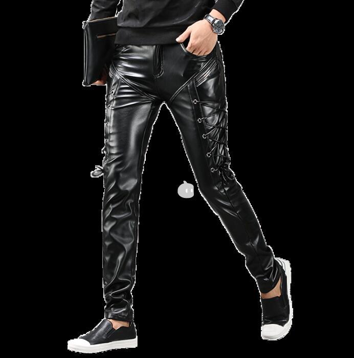 Motocicleta Para Terciopelo Engrosamiento Pantalones De Pantalon Homme Cuero Negro Pu Faux Hombres Pies Personalidad Moda Además x4PXqHF