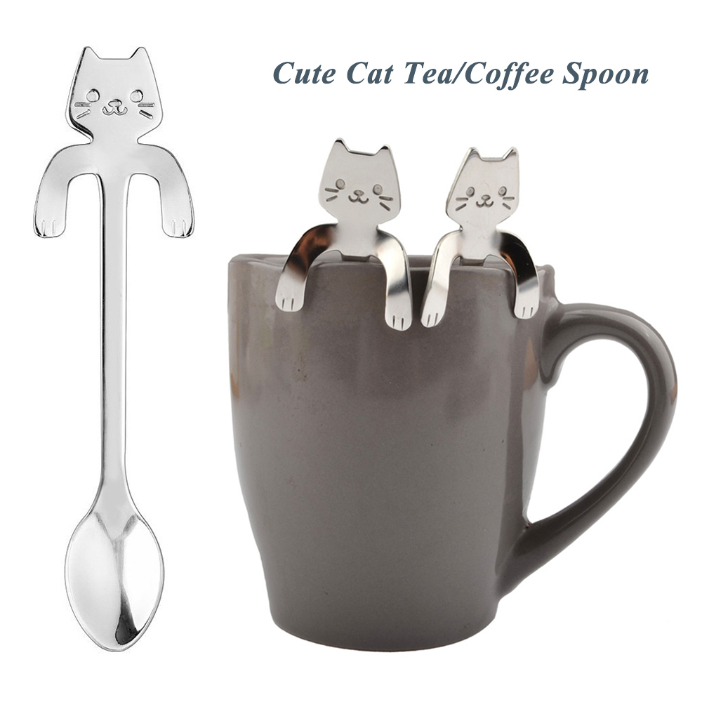 Cute Cat Spoon 304 stainless  Long Handle Mini Flatware Coffee Stainless Steel  Dessert Spoon Hanging Up Gadget camping equiment