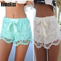 Summer Fashion Women Sexy Lace Shorts Cotton Floral Lace Crochet Mini Shorts Leisure Lace-Up Short Trousers