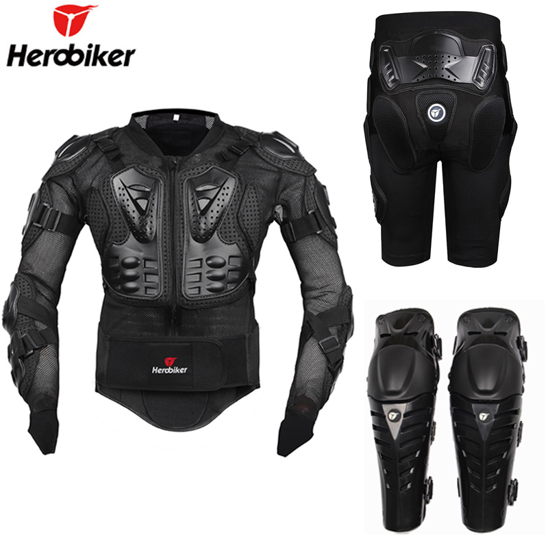 Motorcycle Riding Armor Protective Gear Motocross Off-Road Enduro Racing Full Body Protector Jacket + Hip Pad Shorts + Knee Pads