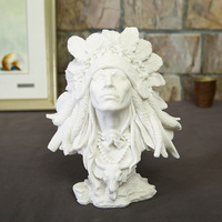 Native Americans man statue white sandstone resin handicrafts people figurines miniatures home decoration sculpture accessories