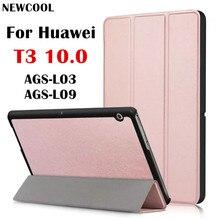 T3 9.6 Магнит PU Кожаный чехол Откидная Крышка для Huawei T3 10 AGS-L03 AGS-L09 Wi-Fi AGS-W09 Mediapad tablet дело стенд крышка