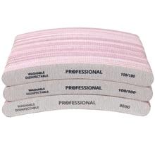 50Pcs Professional Nail File Curved Banana Nail Buffer Polish Sandpaper 80/80 100/100 100/180 Buffing Unha Limas Para Manicure