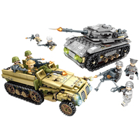 8 in 2 Military Empires of Steel 1061Pcs Building Blocks Toy For Children Compatible with Military War Vehicle Car Legoings SWAT