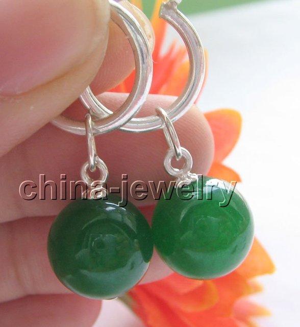 12 mm perfecto ronda pendientes de jade verde - 925 aro de plata envío libre