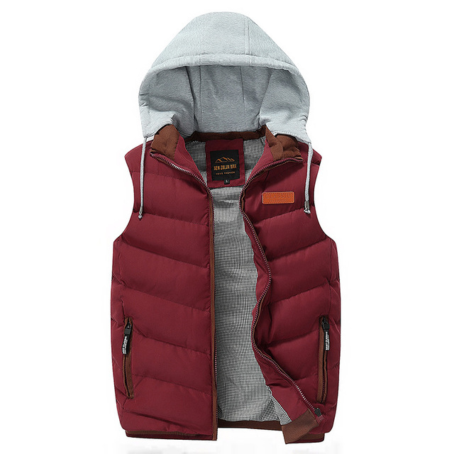 The new 2016 hooded moss cotton leisure vest male winter of cultivate one's morality  pure color vest