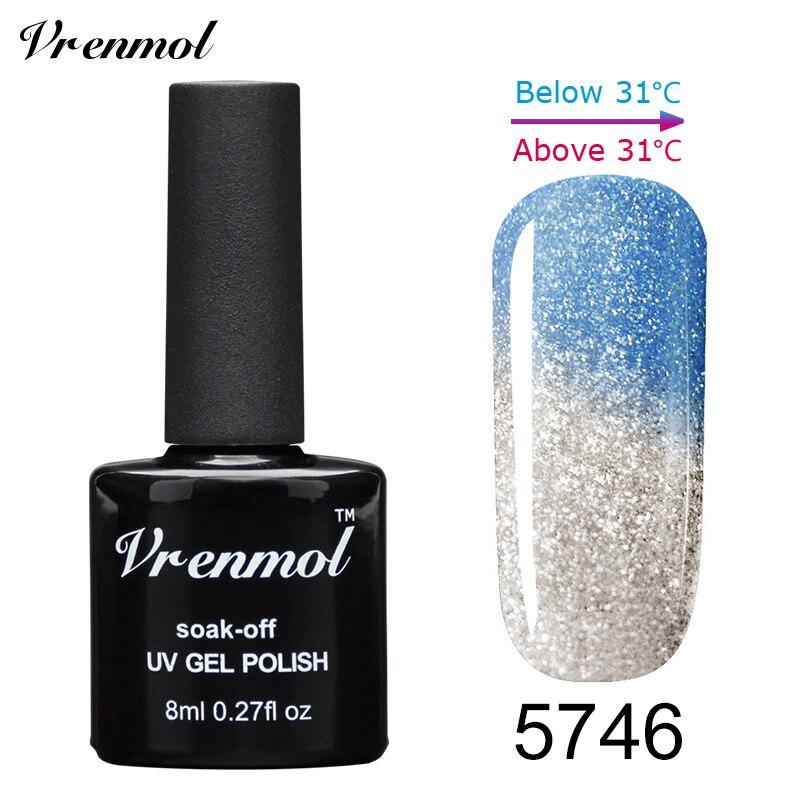 Vrenmol, 1 шт., меняющий цвет, замачиваемый УФ-гель, цвета, лак Verniz, Термальный, меняющий настроение, Гель-лак для ногтей - Цвет: 5746