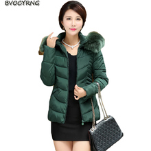 2017New Fashion Big Yards Women Medium Long Slim Coat Hooded Collars Thickening High-end Down Cotton-Padded Jacket Warm CoatQ618