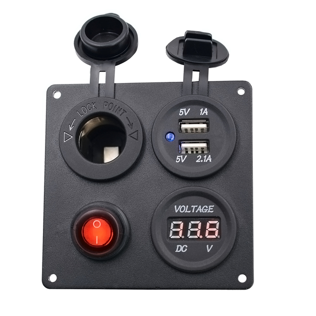 Dual USB Charger Aluminum Switch Panel + LED Voltmeter + 12V Power Socket + ON-OFF Button Switch Four Hole Panel for Car Boat