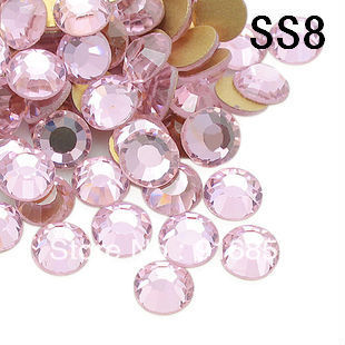 Free shipping 1440pcs/lot ss8 light pink color non hotfix flat back Rhinestones DIY decoration for nail cellphone laptop art