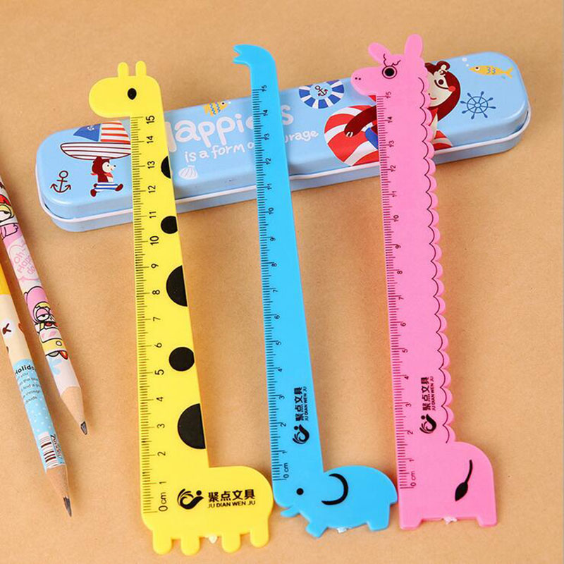 Giraffe Ruler Ruler Student Prizes Wholesale School Supplies Stationery Cute Cartoon Ruler Of 15 Cm (3pc Different Styles)