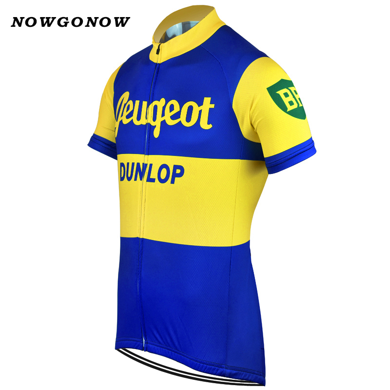 NOWGONOW 2017 Cycling Jersey men yellow blue vintage pro team Clothing Bike  Wear MTB road tops Maillot 3 style summer nostalgic-in Cycling Jerseys from  ... 098f322c1