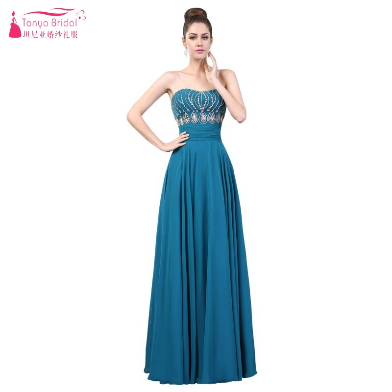 A Line Bling Bling Teal Blue Long Chiffon Prom Dresses Empire ...