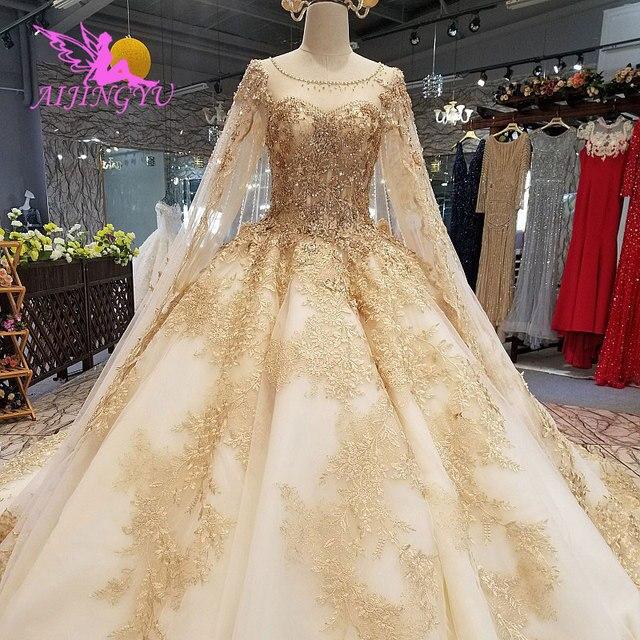 AIJINGYU Wedding Dress Elegant Gowns Ball 2021 2020 Hot Lace Plus Size Rhinestone Modern Gown Bridal Designers