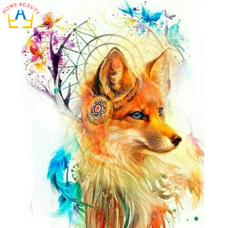 HOME BEAUTY oil paint painting by numbers diy picture river drawing on canvas oil painting by hand coloring animals fox R062