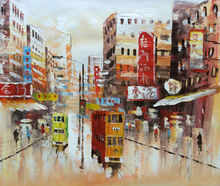 Hand Painted Canvas Knife Oil Painting Abstract HongKong Trams Street Canvas Painting Wall Art Picture Painting for Living ROOM