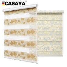 Casaya Luxury Bronzing Fabric Zebra Blinds Blackout Fabric Gold Silk Jacquard Flower Fashion Roller Blinds for Home Decoration