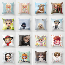 Hot sale cute girl cartoon pillow case men women girls ladies square cases  throw cover 45*45cm